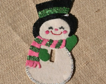 Vintage Felt Christmas Switch Cover, Mrs. Snowman, Snowwoman, Sequined, 1960s