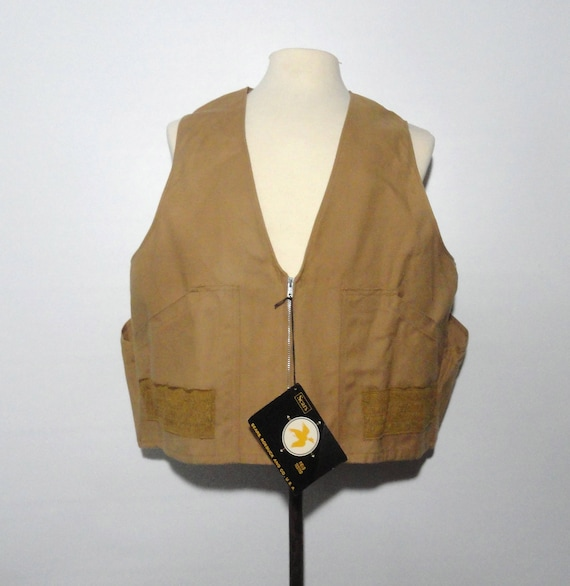 XL Hunting Vest NOSWT, 60s 70s Ideal Products Outdoor Gear XL, Dark Tan Sports Wear Extra Large Unworn Field Vest with Tags Gift for Guy