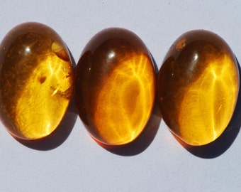 One Piece Natural Baltic Amber Cabochon, Golden Yellow, Oval, 15 x 10mm