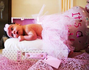 Baby Tutu Pink Polka dot tulle with satin bow and hair headband for photoshooting