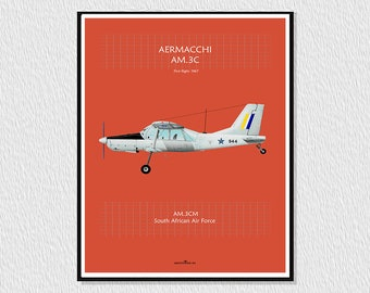 Laminate, downloadable poster for decoration, instant downloading, wall decor, airplane poster, digital drawing airplane Aermacchi AM 3c
