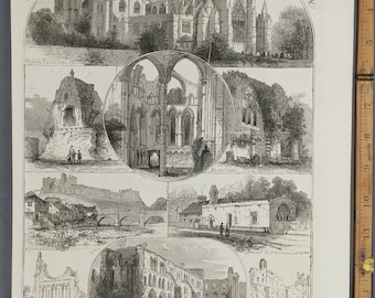 Views in and Near Ripon. Middleham Castle, Richmond Castle, Easby Abby, Cathedral. Royal Archelogical Institute of Great Britian and Ireland