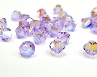 16 Pieces Violet AB Swarovski Bicone Beads, Article #5301, Vintage, 5mm