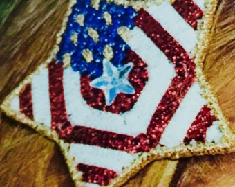 Stars and Stripes  Red White and Blue Barrette