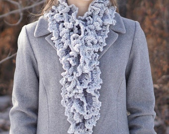 Gray Ruffle Scarf with Vine Accent scarf, Long version, handmade scarf in gray, handpainted Merino Wool, Crochet Scarf