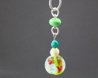 Lime Green Pendant Necklace, Green Pendant, Pendant Necklace, Sterling Silver Pendant, Glass Lampwork Beads, Green Choker, Layering Necklace