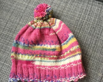 Raspberry Sherbet Baby Hat (machine washable)