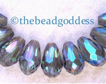 Multi-Faceted MARINE BLUE AB Glass Crystal Drop Beads 13x8mm-9 pieces