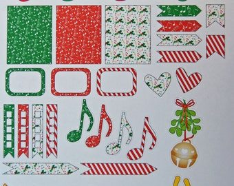 Christmas Notes Musical Holiday Planner Sticker Sheet - Pre Printed Planner Stickers - Planner Stickers - Planner Accessories