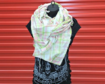 Reclaimed Infinity Scarf . Recycled Flannel Shirt . Distressed . Deconstructed . Rockabilly . Winter . Goth . Grunge . Pink . Green . White