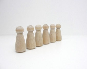Wooden peg people lady unfinished DIY set of 6