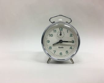 Vintage alarm clock, German Kundo wind-up table clock, Retro desk clock, Home and office decor, Fully working mechanical desk clock