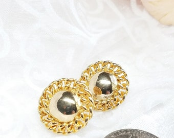 Vintage Goldtone Button Post Earrings, Classic Gold Button Earrings, 1980s chunky, Retro Style Jewelry, Round Earrings, Elegant Vintage