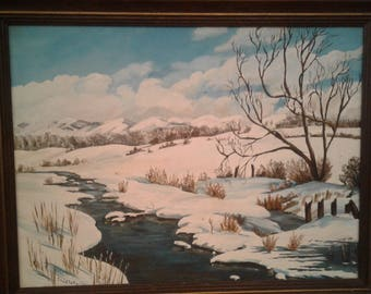 Vintage Oil On Board /Signed  Charlotte/  Snow Capped Mountains/ Stream/Trees