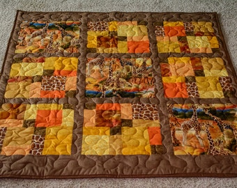 Giraffe Quilt for baby or toddler bed or lap quilt