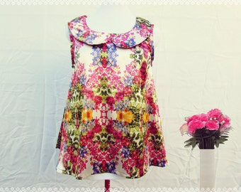Peter Pan Collar Flowy Tank in Technicolour Garden - Floral, Sleeveless, Trapeze Style, Swinging Fit, OOAK, Satin Top, Size Medium