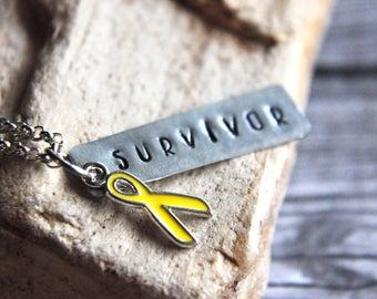 Cancer Awareness Ribbon Necklace - Awareness Jewelry - Awareness Necklace - Cancer Survivor Gift - Cancer Jewelry - Yellow Ribbon