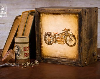 Edison Lightbox   Motorcycle   Light Box   Table Lamp   Desk Lamp   LED   Lamp   Harley Davidson