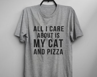Cat pizza funny tshirt teens graphic tee women tumblr clothing shirt with saying gift for womens printed tshirts