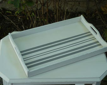 Serving platter in off white painted wood weathered and gray