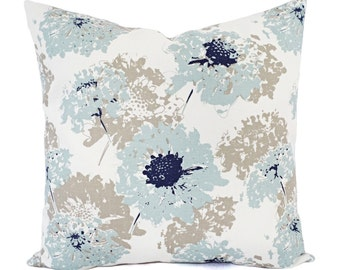 Two Decorative Pillows - Spa Blue Pillow Cover - Floral Pillow Cover - Modern Pillow Sham - Accent Pillow - Blue Throw Pillow - Blue Pillow