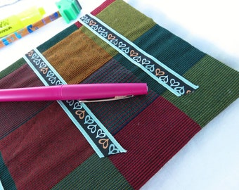 Colored Checks - Handbound journal - repurposed, recycled materials, hearts ribbon, handsewn, dot grid pages, opens flat, has character