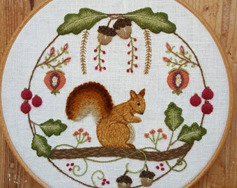 Squirrel Wreath Crewel Embroidery Pattern and Kit