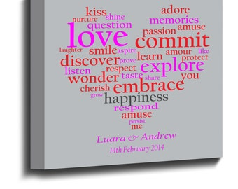 Personalised LOVE Heart Word art Canvas Print Framed Choice Size Valentine Gift