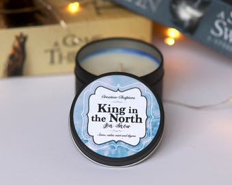 King In The North | Jon Snow | 4oz Bookish Candle | Game of Thrones Inspired | Handmade Soy Candles