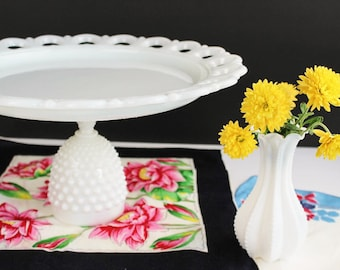 """Upcycled Vintage Milk Glass Cake Plate Stand / 13"""" Laced Edge Plate Hobnail Base / Wedding Christmas Holiday Birthday Table Buffet"""