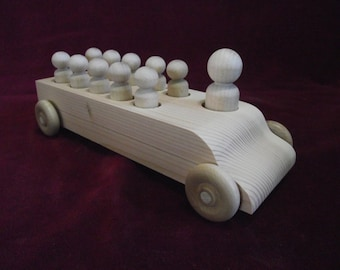 Original Bus with Peg Dolls, Unfinished Pine Bus with Unfinished Hardwood Passengers