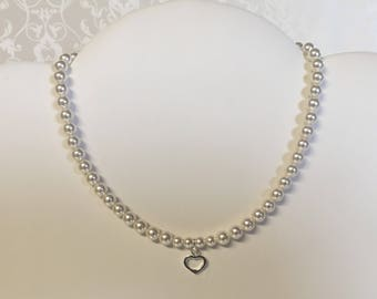Flower girl sterling silver heart Swarovski pearl necklace bridal wedding jewelry