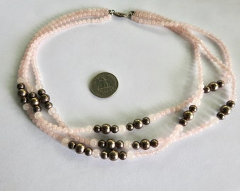 Triple Strand Rose Quartz Silver Bead Necklace
