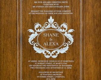 80  5X7 Clear Acrylic Invitations Custom Shape