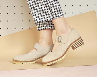 90s SUEDE mary janes CHUNKY mary janes PLATFORM mary janes boho mary janes grunge mary janes hippie mary janes / Size 9 us / 6.5 uk / 40 eu