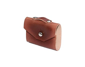 Brown Leather Cord Organizer / Headphone Case, Earbud Holder / Cable Holder, Leather Cord Keeper, Leather Earphone Holder