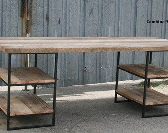 Reclaimed Wood Desk with Shelves. Steel. Vintage Industrial Desk. Rustic. Table. Reclaimed Wood Craft Table. Work Station. Urban. Modern.