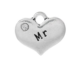 "4 Pieces Antique Silver ""Mr"" Carved Clear Rhinestone Heart Charms"