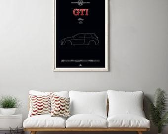 VW Golf GTi Mk7 Poster, VW Golf GTi Mk7 print, Car poster print, Volkswagen print, Volkswagen Golf, GTi poster, Minimalist car poster Active