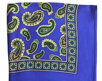 Silk Pocket Square / Pocket Handkerchief / Blue Handkerchief / Mens Handkerchiefs Men Hanky / Silk Handkerchief