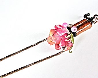 Women Gift real rose pendant Nature necklace, bohemian hippie gift for woman, Rustic jewelry for her, Rose gift for wife, Organic jewelry