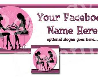 2 Ladies Nail Salon Pink and Purple - Facebook Timeline Cover - Profile Photo - Cover Photo