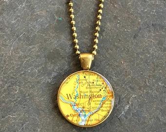 Map Necklace Washington DC  Bold Bronze Loop Style Vintage Atlas