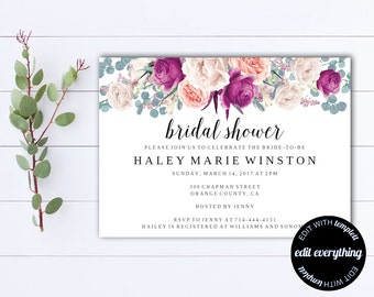 Bridal Shower Invitation   Floral Bridal Shower Invite   Printable Invite  Wedding Shower   Printable Bridal Invitation   Floral Invitation