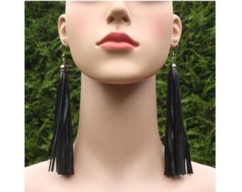 Black leather earrings, handmade earrings, long fringed earrings, leather tassel earrings, dangle earrings, boho earrings, leather jewelry