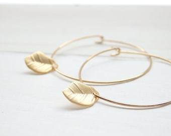 Gold Little Leaf Hoop Earrings