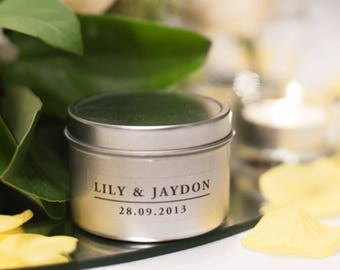 Hand Made Personalised Scented Candle Bomboniere - Travel Tin Medium