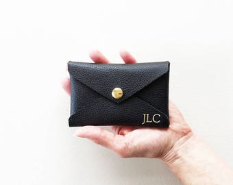 Personalized Credit Card Wallet, Monogram Leather Credit Card Case, Black Leather Business Card Holder, Metro Card Pouch, Gift Card Holder