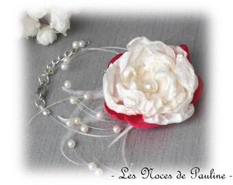 Wedding bracelet rose Fuchsia and ivory Fleur Camélia, Les Textiles