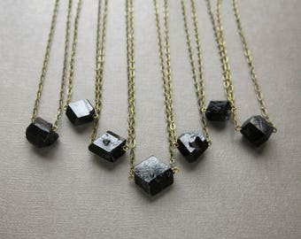 Raw Black Tourmaline Necklace - Crystal Choker - Raw Stone Necklace - Tourmaline Jewelry - Raw Tourmaline Necklace- Black Tourmaline Pendant